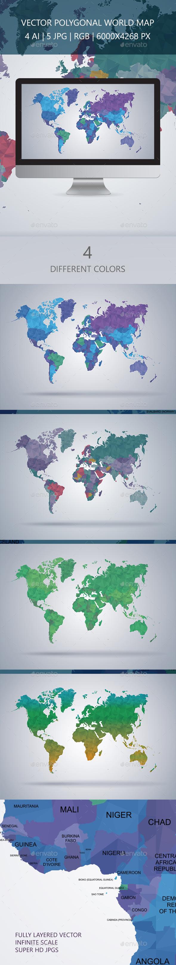 World Map Polygon Vector - Travel Conceptual