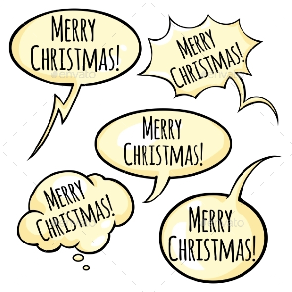 Vector Set of Greeting Bubble with Text - Christmas Seasons/Holidays