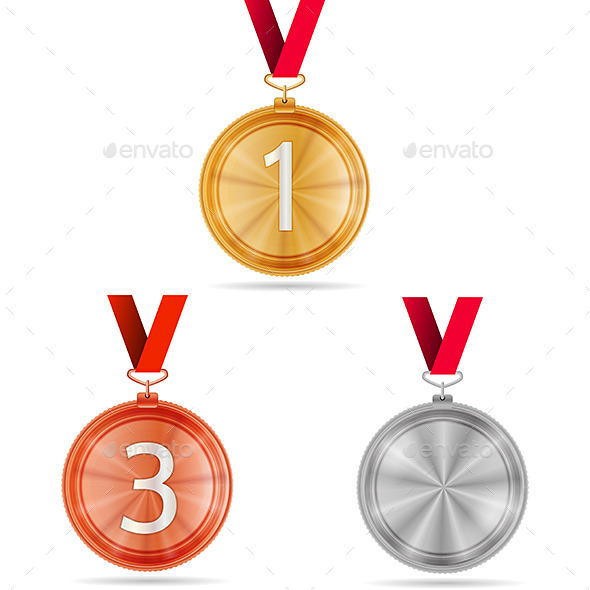 Vector Illustration of Winner Medals - Sports/Activity Conceptual