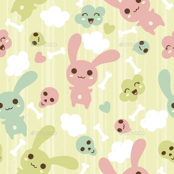 Kawaii Pattern - Monsters Characters