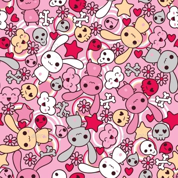 Kawaii Pattern - Monsters Characters