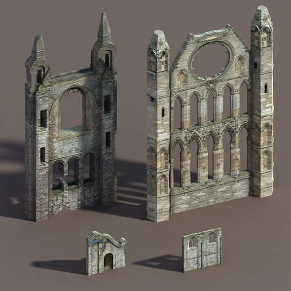 Castle Ruin Pack Low poly 3d Model - 3DOcean Item for Sale