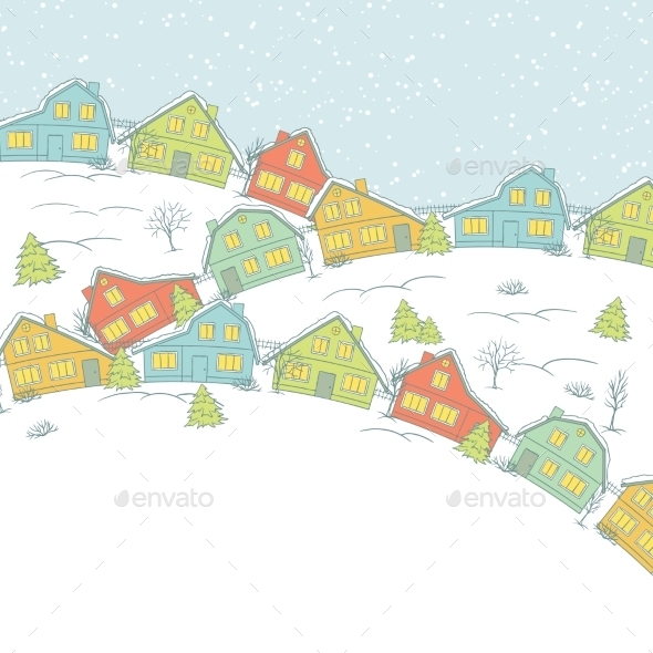 Christmas Card - Buildings Objects
