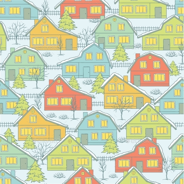 Christmas Pattern - Buildings Objects