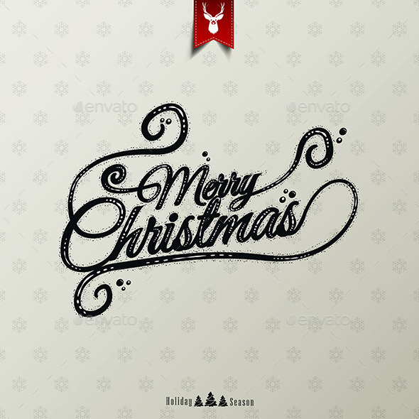 Vintage Christmas Typographical Background - New Year Seasons/Holidays