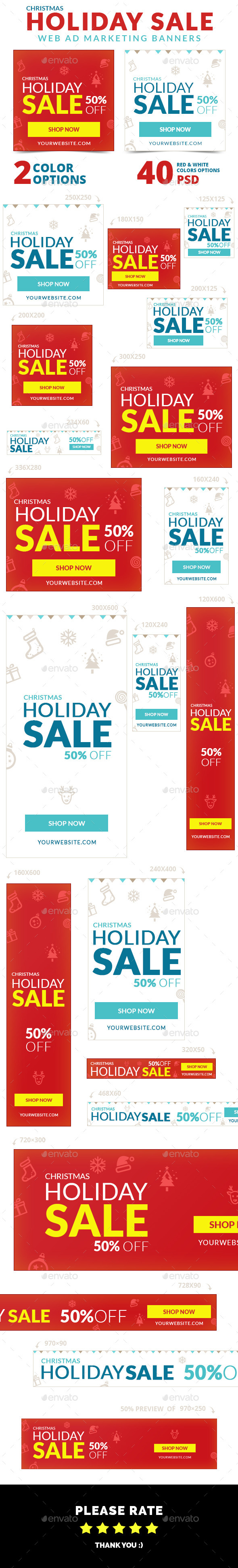 Christmas Holiday Sale Web Ad Marketing Banners - Banners & Ads Web Elements