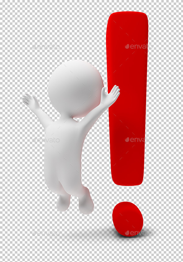 3d Small People - Exclamation Mark - Characters 3D Renders