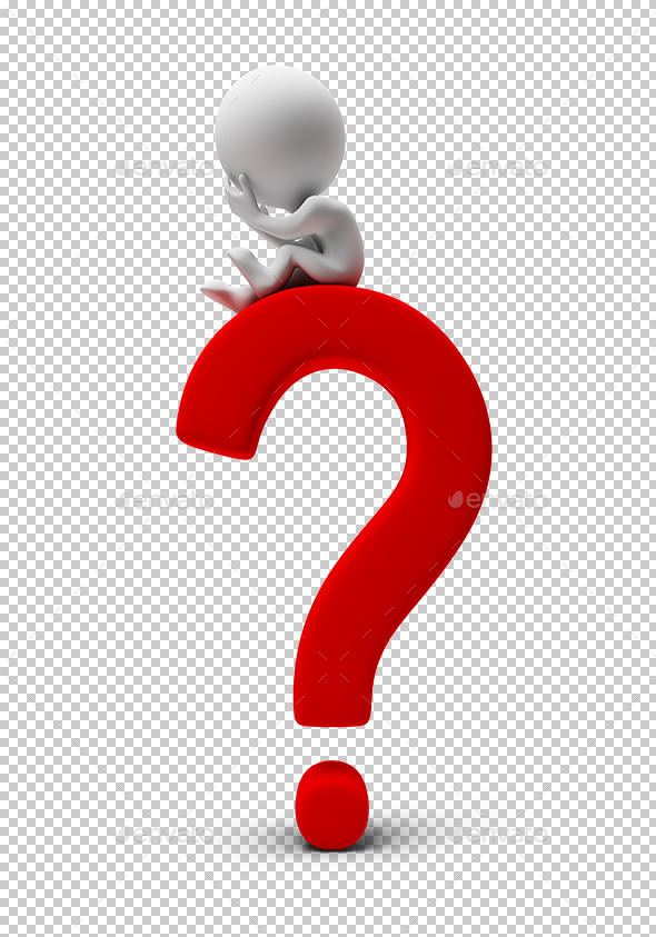 3d Small People - Question Mark - Characters 3D Renders