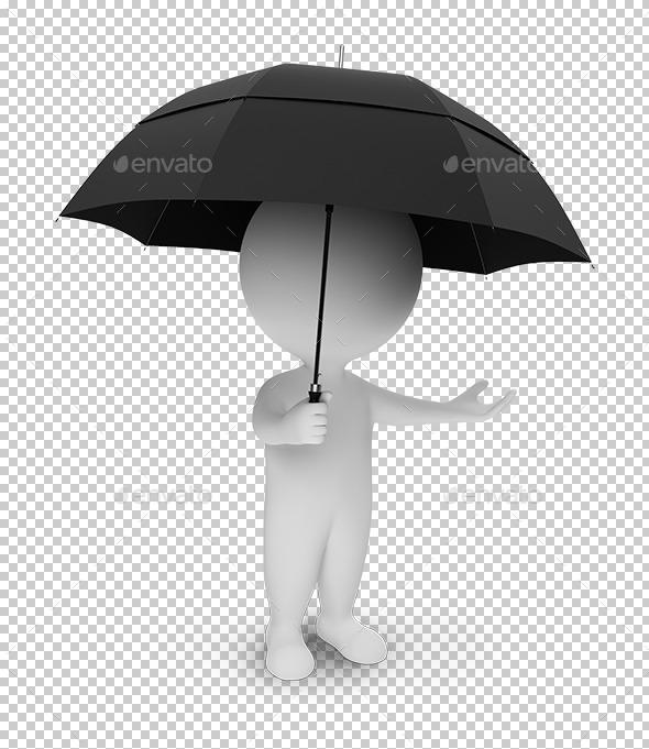 3d small people - umbrella - Characters 3D Renders
