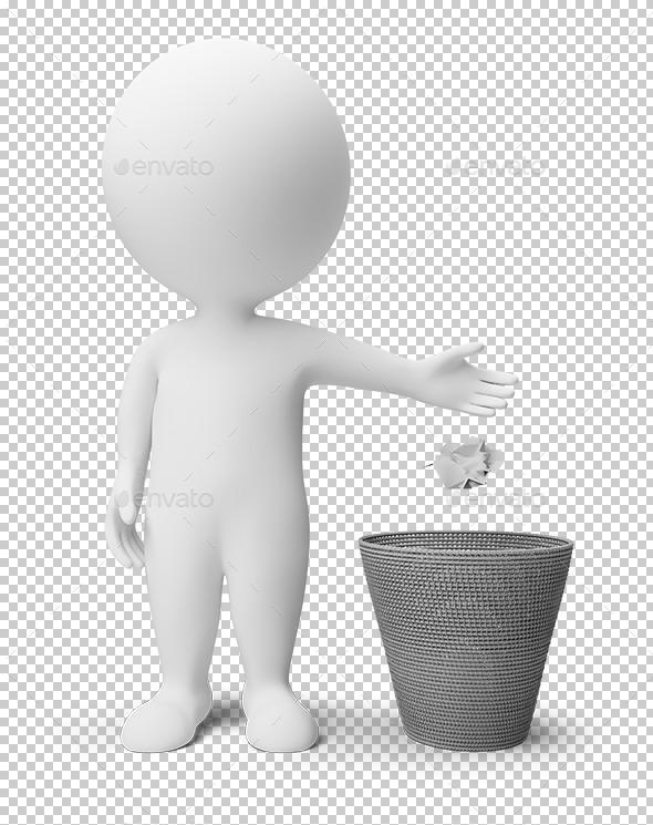 3D Small People - Garbage Basket - Characters 3D Renders