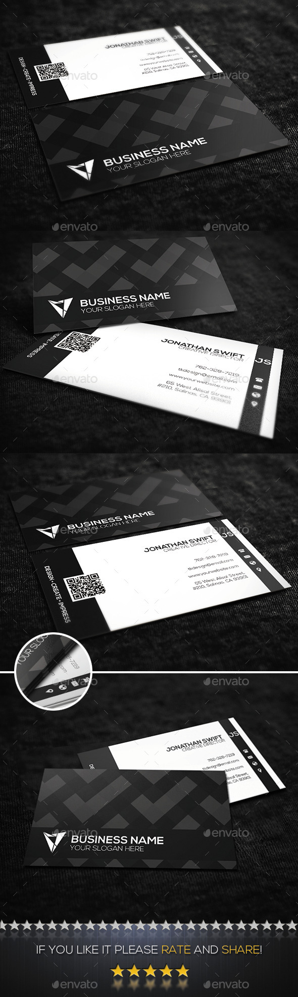 Black & White Corporate Business Card No.01  - Corporate Business Cards