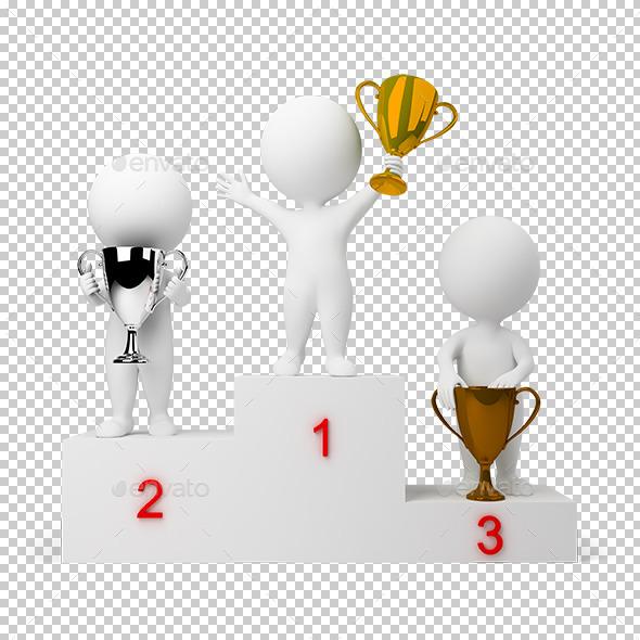 3D Small People - Rewarding of Winners - Characters 3D Renders