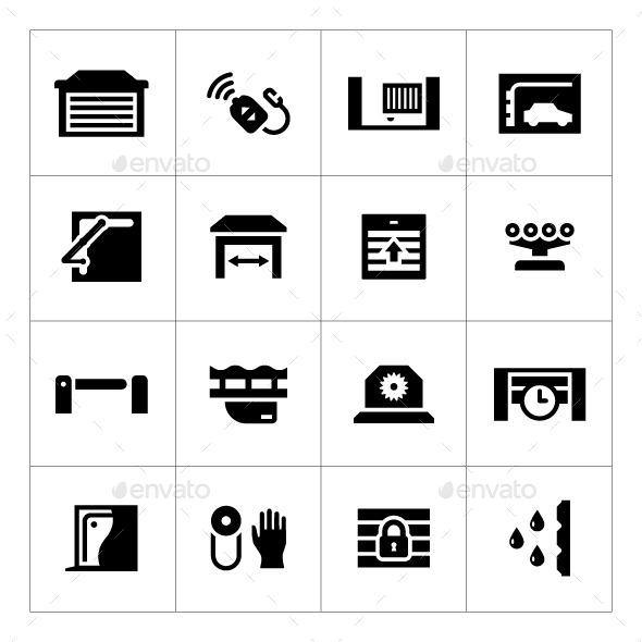 Set Icons of Automatic Gates - Man-made objects Objects