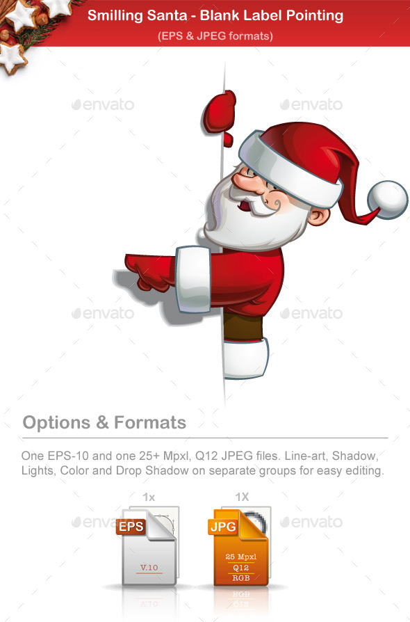 Smilling Santa - Pointing at a Blank Label - People Characters