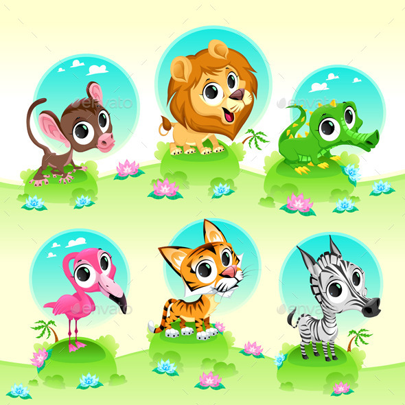 Wild Animals with Background - Animals Characters