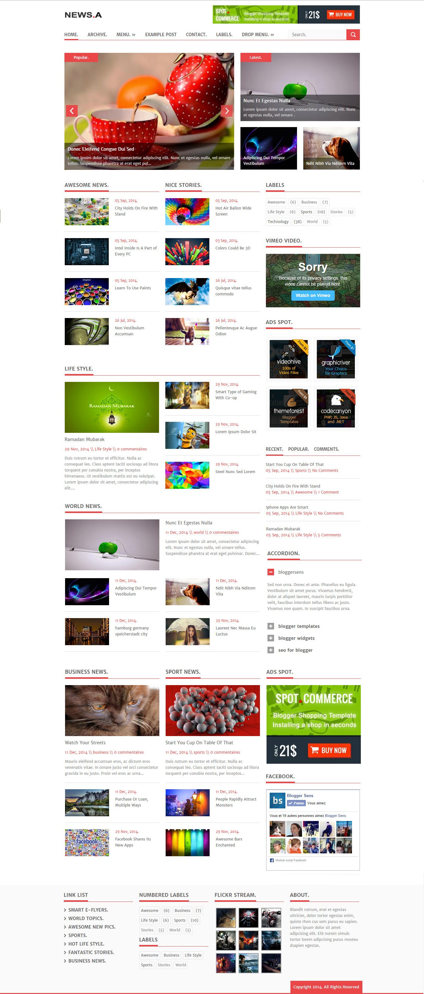 Newsa Smart Responsive Blogger Template By Bijaan Themeforest