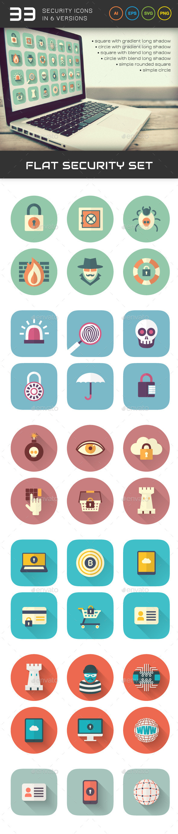 Flat Security Set - Technology Icons