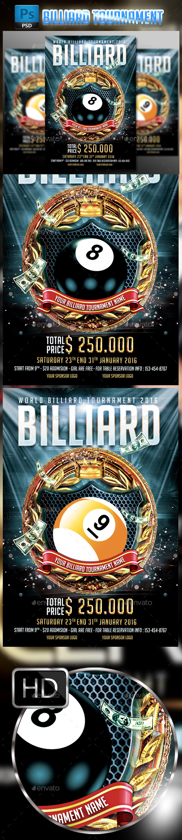 Billiard Tournament Flyer Template  - Sports Events