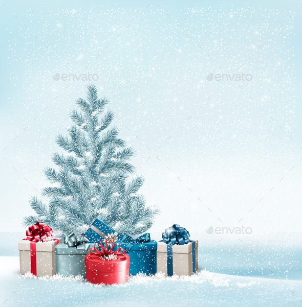 Christmas Tree with Presents Background - Christmas Seasons/Holidays