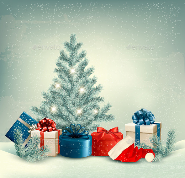 Winter Background of Christmas Tree with Presents - Christmas Seasons/Holidays