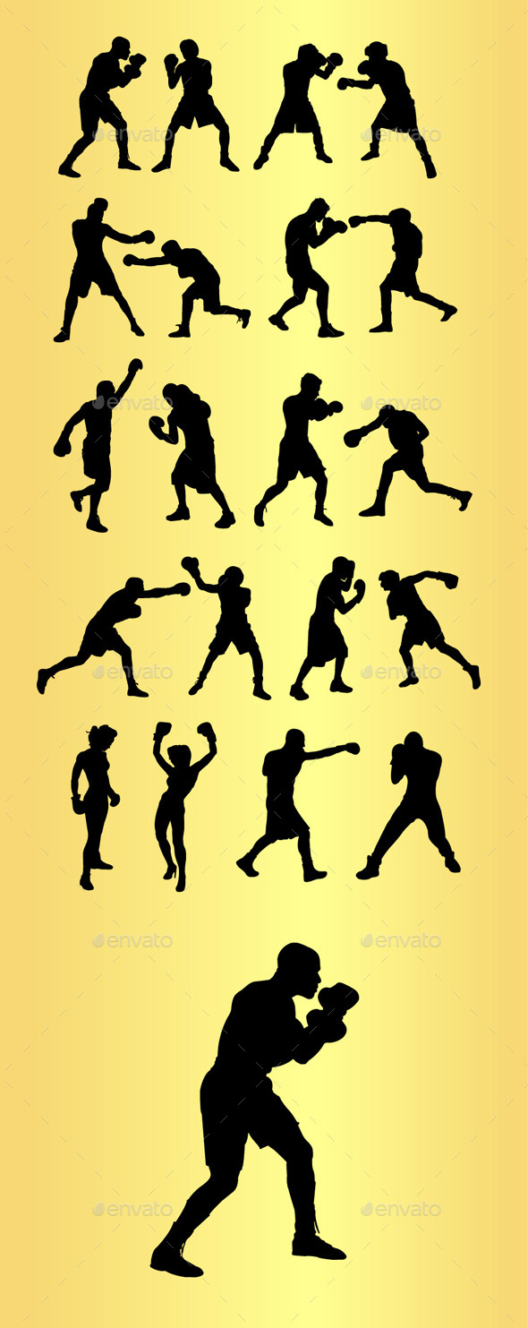 Boxing Sport Silhouettes - Sports/Activity Conceptual