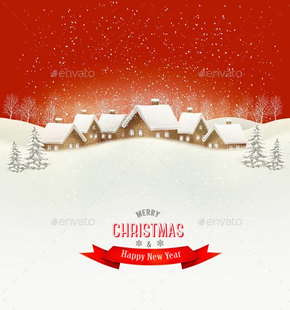 Winter Village Evening Background - Christmas Seasons/Holidays