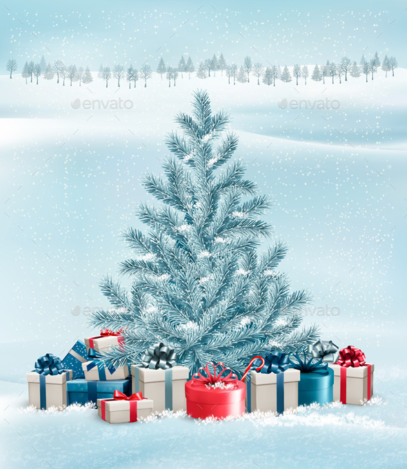 Winter Landscape with a Tree and Gift Boxes - Christmas Seasons/Holidays