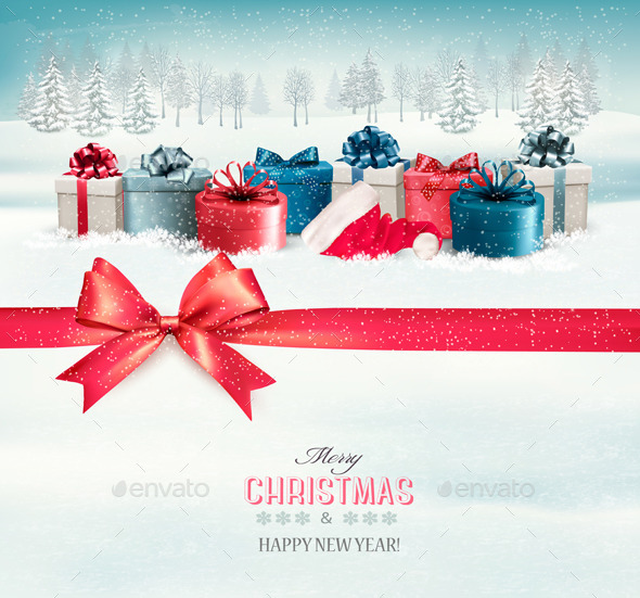 Holiday Christmas Background with Colorful Boxes - Christmas Seasons/Holidays