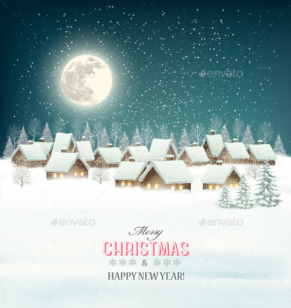 Winter Village Night Background - Christmas Seasons/Holidays