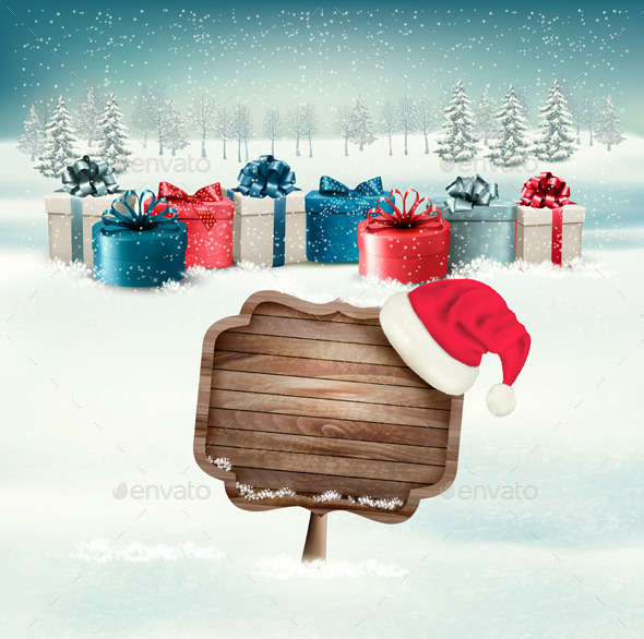 Winter Background with Gift Boxes and Sign - Christmas Seasons/Holidays