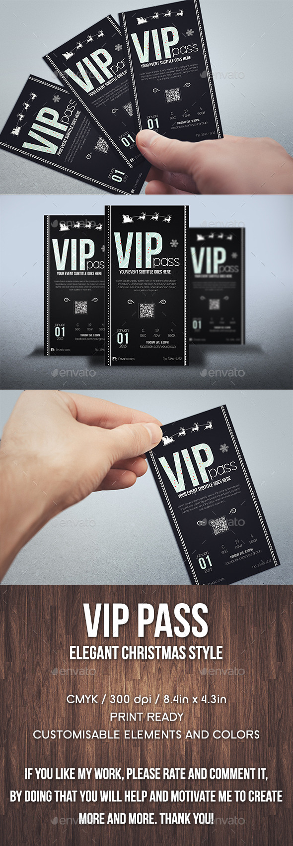 Elegant christmas vip pass card - Cards & Invites Print Templates