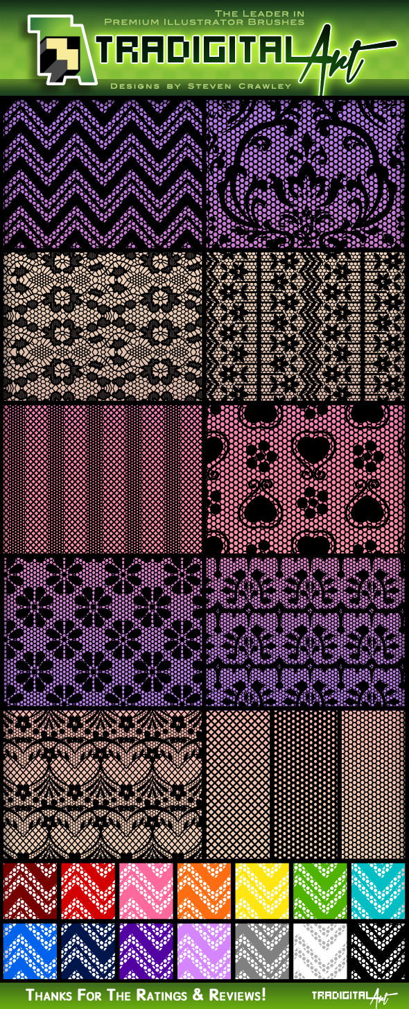 Lace Pattern Swatches - Miscellaneous Textures / Fills / Patterns