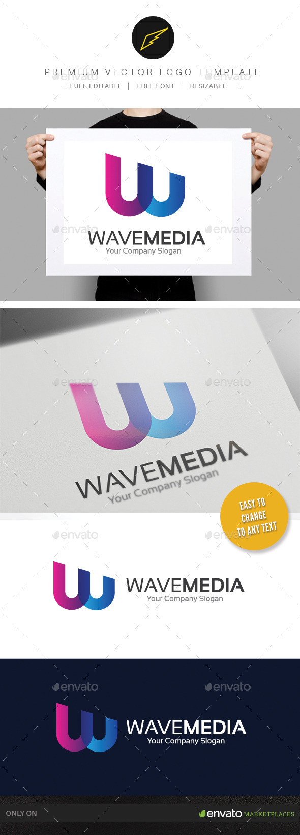 Wave Media - Letters Logo Templates