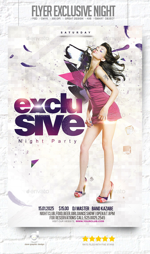Flyer Exclusive Night Party - Clubs & Parties Events