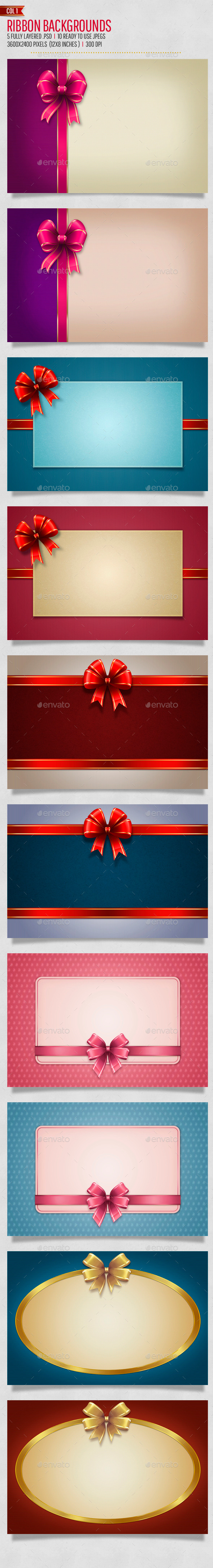 Bow / Ribbon Backgrounds Col1 - Backgrounds Graphics