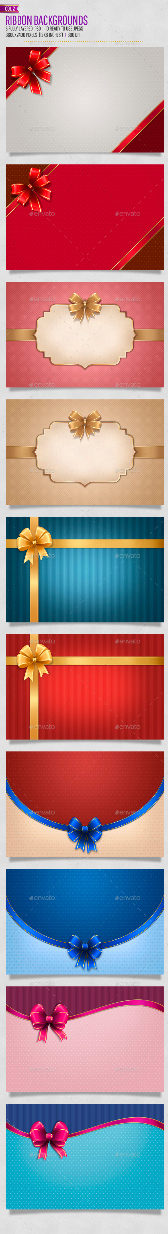 Bow / Ribbon Backgrounds Col2 - Backgrounds Graphics