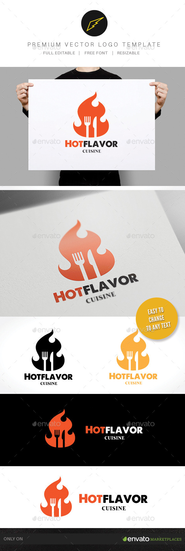 Hot Flavor - Food Logo Templates