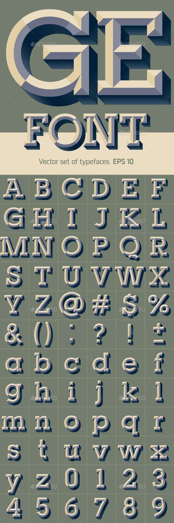 Old School Beveled Alphabet - Decorative Symbols Decorative