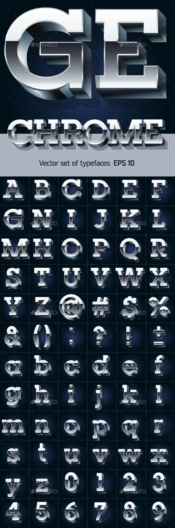 3D Chrome Alphabet - Decorative Symbols Decorative