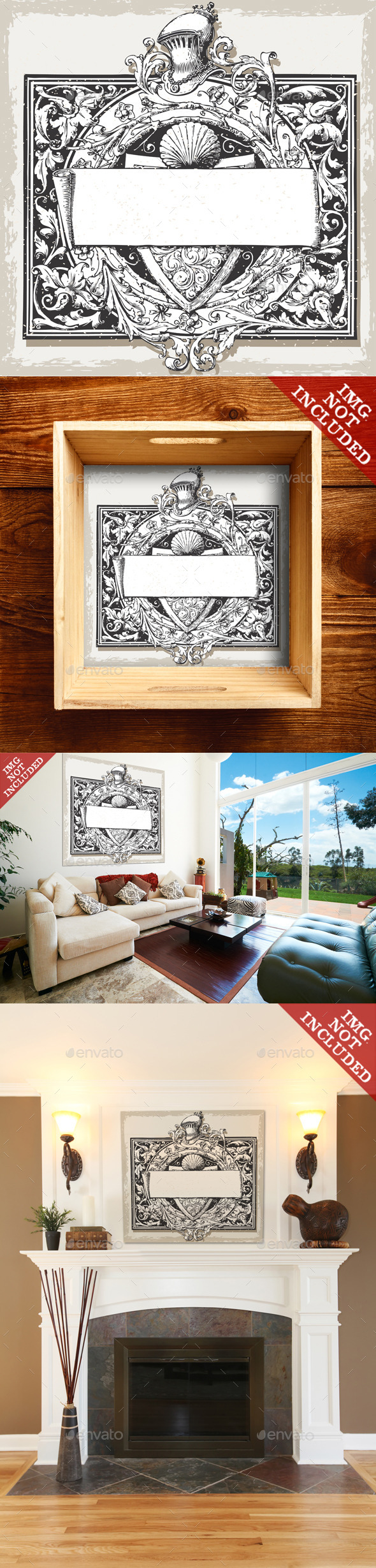 Vintage Floral Frame with Elm and Title Block - Decorative Vectors