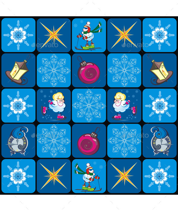 Seamless Christmas Pattern with Snowflakes - Backgrounds Decorative