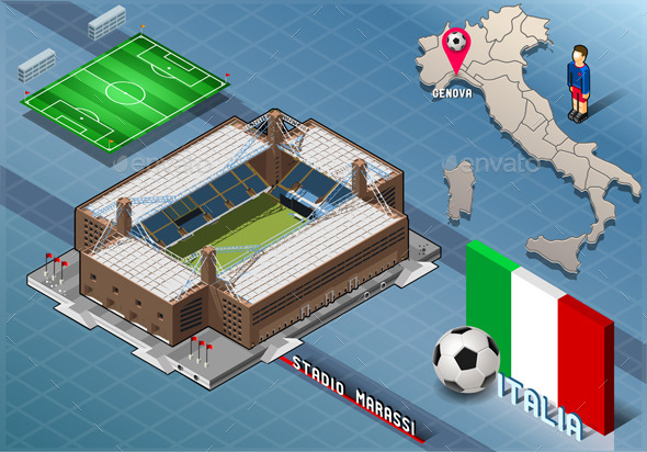 Isometric Stadium, Marassi, Genova, Italy - Buildings Objects