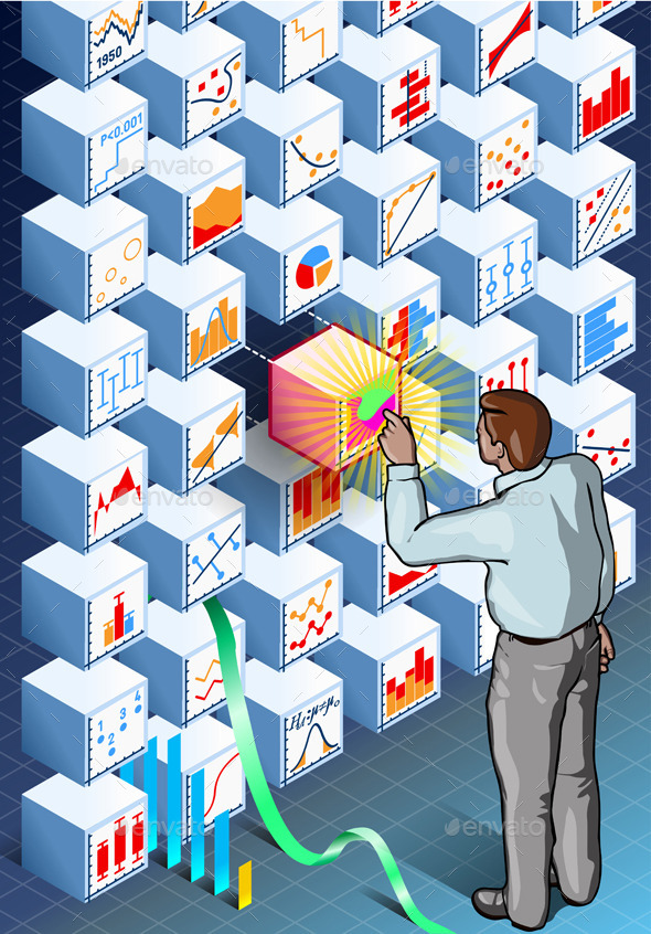 Isometric Infographic with Standing Man - Business Conceptual
