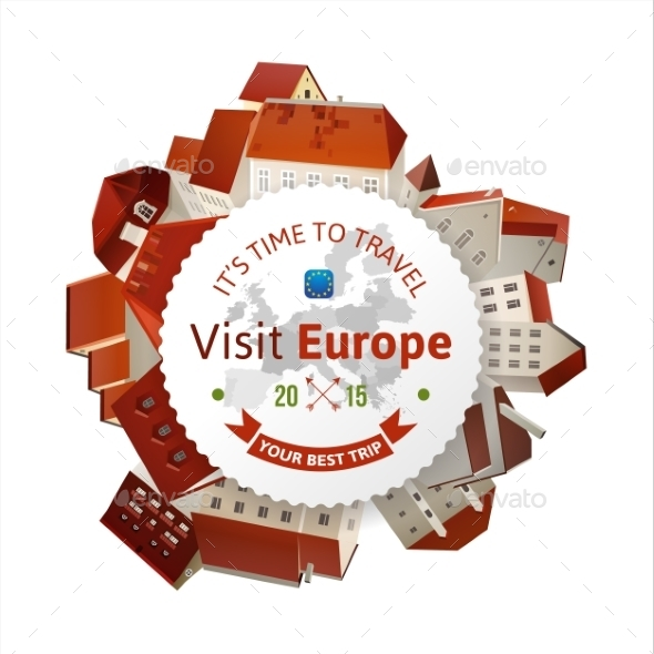 Visit Europe Emblem with City Landscape - Miscellaneous Conceptual