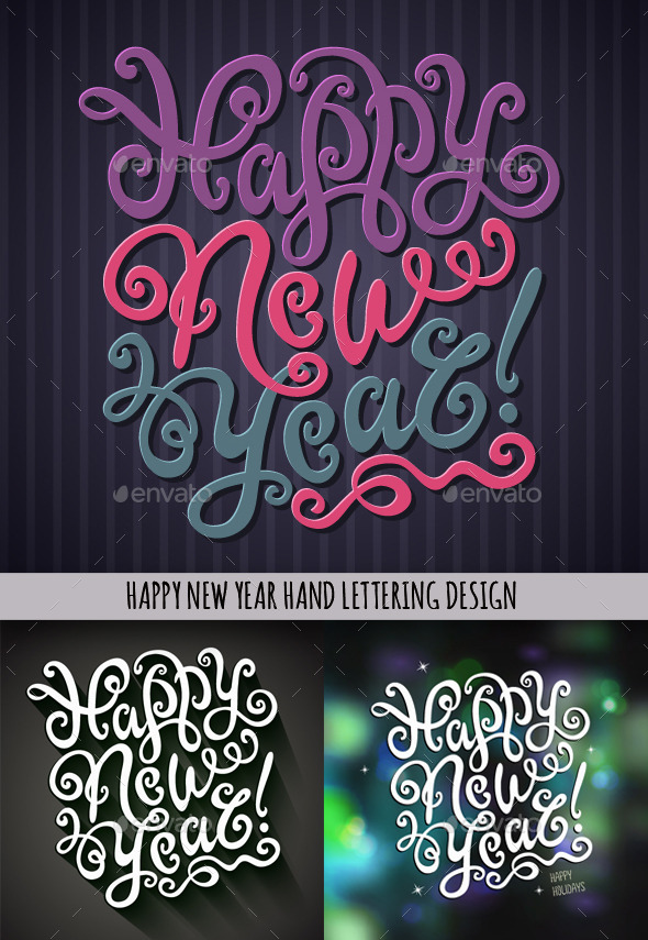 Happy New Year Hand Lettering Set - New Year Seasons/Holidays
