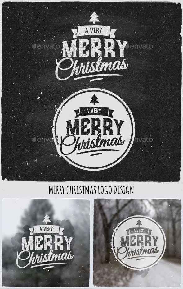 Christmas Typographic Design Emblem - Christmas Seasons/Holidays