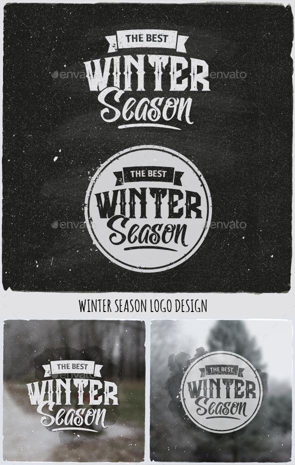 Winter Typographic Design Emblem - Seasons/Holidays Conceptual
