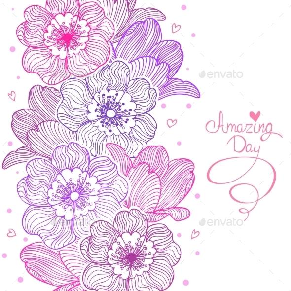 Flowers Stripe Design - Decorative Symbols Decorative