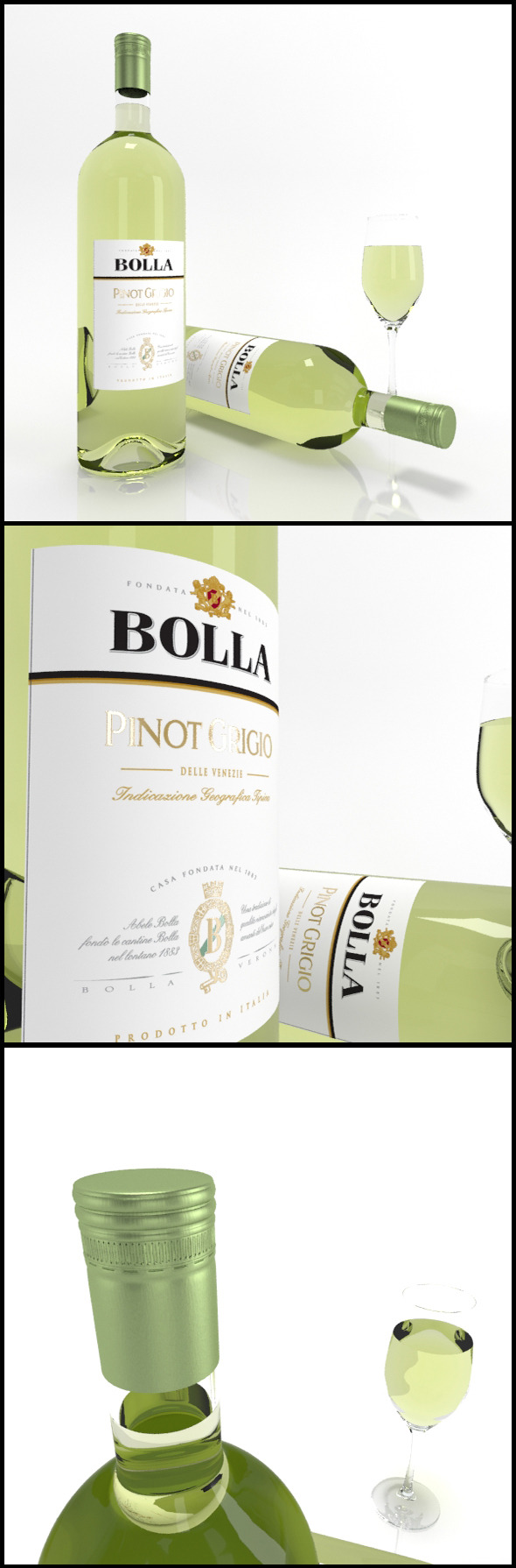 Pinot Grigio wine bottles & full glass: Bolla  - 3DOcean Item for Sale