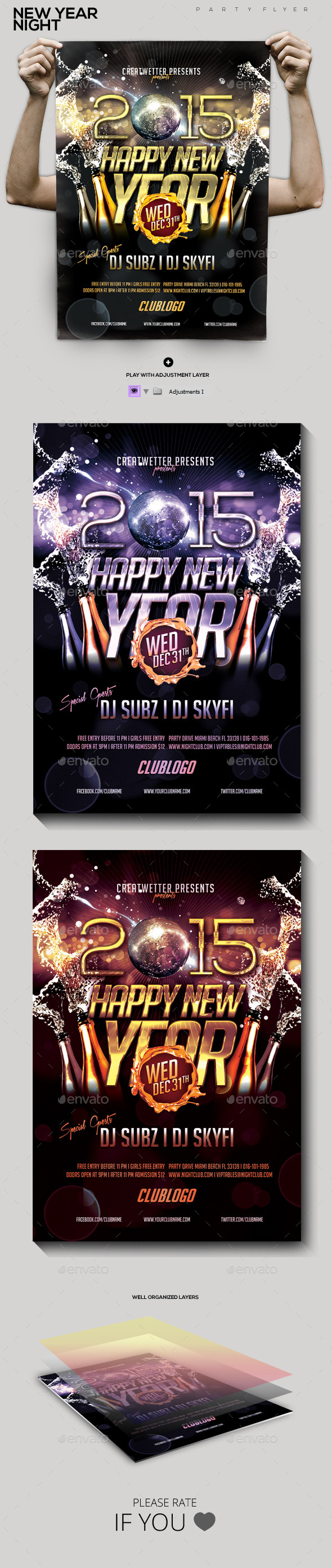 New Year Night Party Flyer - Holidays Events